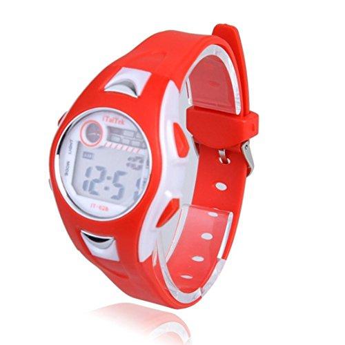 Malloom® moda impermeable Niños Niñas natación deportes silicona digital reloj de pulsera rojo