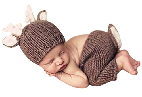 Happy Cherry Neugeborenes Baby Reh Figur Foto Kostüm Fotografie Prop Handarbeit Bekleidungsset Fotoshooting Stricken Tiere Kostüm Unisex Baby Trikot Foto Outfits Requisiten Für 3-4 Monate (Trikot Kostüm Für Jungen)