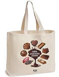 d6ece226bb TNT Positive stile borsa di cotone con fondo - solido 195 G/m² - Borsa Tote  - Stampato cioccolato - Borsa in Tela…