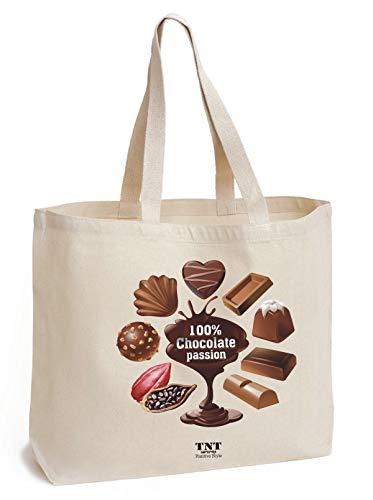 TNT Positive Style Baumwolltasche mit Boden - robust 195 g/m² - Tote Bag - Bedruckt mit Schokolade - Canvas-Tasche - Weihnachtsbeutel - Lange Griffe - Einkaufstasche aus Baumwolle -
