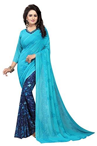 Kanchan Women's Soft Georgette Saree (Sky Blue)