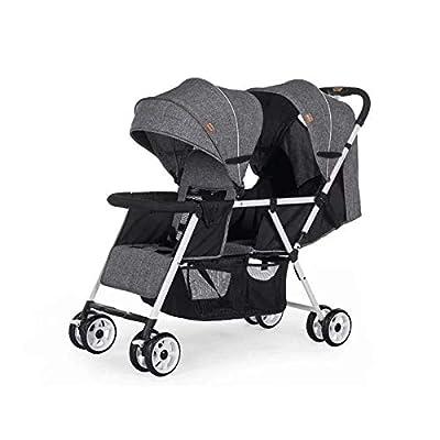 Double Strollers Cochecito Gemelos Plegable Sillas de Paseo gemelar dúo Twin Color Gris Aprobado Desde 0 mois à 36 mois (Gris, Rojo)