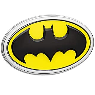 Fan Emblems Batman Logo 3D Car Emblem Schwarz / Gelb / Chrom, DC Comics Automotive Aufkleber Abzeichen Biegt vollständig an Autos, Lastwagen, Motorräder, Laptops, Windows, fast alles
