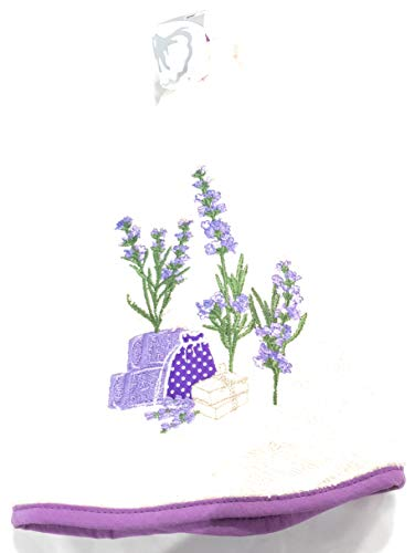 Coton Blanc Baumwolle weiß Geschirrtuch rund elfenbeinfarben Lavendel - Lavendel Geschirrtücher