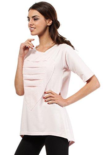 MOE Elegante maglia con stampa a cuori Rosa pallido