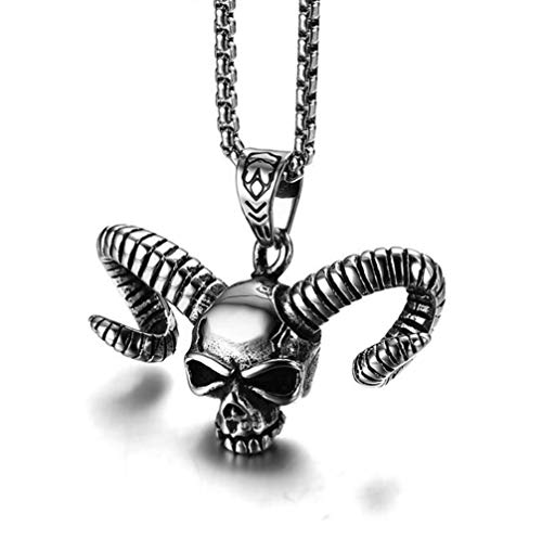 L&H Men es Stainless Steel Taro Horn Pendant Ghost Head Necklace Punk Style Jewelry