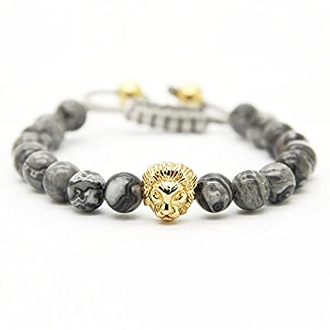 GOOD.designs Chakra Bead Lion-Bracelet made of natural grey Jasper stones, Lions-head pendant in Gold or Silver, Jewellery for Men and Women (Gold)
