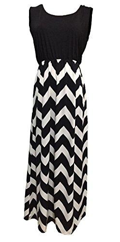Femmes Col V Longue Robe Sans Manches Maxi Rayures Taille Haute Mince Robes de Bohême Filles Casual pour Noir & Blanc