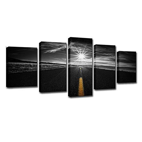 Unbekannt Rahmenlose HD-Druck-Foto-Wand-Kunst-5 Stück Kombination Schwarz-Weiß Highway-Leinwand Wand-Hintergrund Wand-Wohnzimmer Restaurant Büro,S