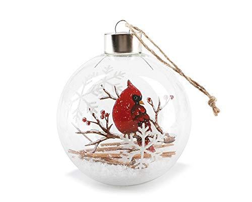 Palla albero di natale 8 cm vetro cervo o pettirosso 3d con box decorazione natale (pettirosso)