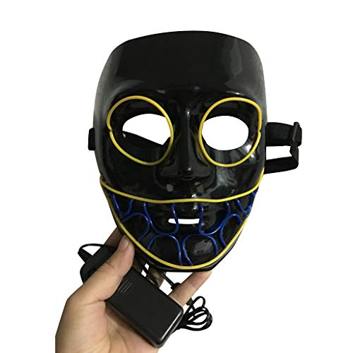 Kinder El Kostüm Draht - DingLong Halloween LED Maske - Horror EL Draht leuchtet PVC Mask Light Up Cosplay für Erwachsene Kinder Halloween Kostüm Fest Party Verkleidung Maskenball Unfug