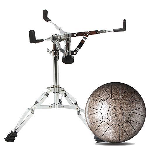 MBT Metal Tongue Drum In C Major Batería de percusión de acero de 12 pulgadas con 11 notas Tongue Drum con palillos, soporte de batería y bolsa de transporte Principiante Instrumento musical Marrón