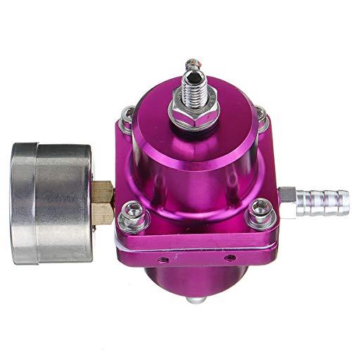 Viviance Aluminium-Adjustable Kraftstoff-Auto-Druckregler Mit 0-140 Psi Ölmessschlauch-Kit - Purpurn