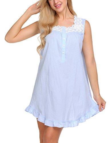 Ekouaer Damen Nachthemd lang Ärmellos Catton Lace Schlafanzug Fronttasten Gemütlich locker viktorianischer Stil Nachtwäsche, Z Blau, EU XL