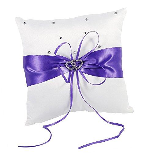 Hosaire Hochzeit Ringkissen Mode Bowknot Form Polyester Ringe Schmuck Kissen Hochzeits Ring Dekoration Box,Lila