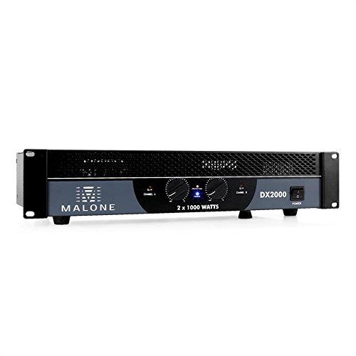 Malone DX2000 PA-Verstärker (2 x 1.000 W bei 4 Ohm, 2 x 600 W bei 8 Ohm, 2.000 W Bridge-Leistung bei 8 Ohm, brückbar 1/2 Kanal) -