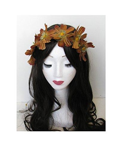 Sienna Daisy fleur bandeau cheveux vintage Festival Couronne Orange Marron Grand M66 * * * * * * * * exclusivement vendu par – Beauté * * * * * * * *