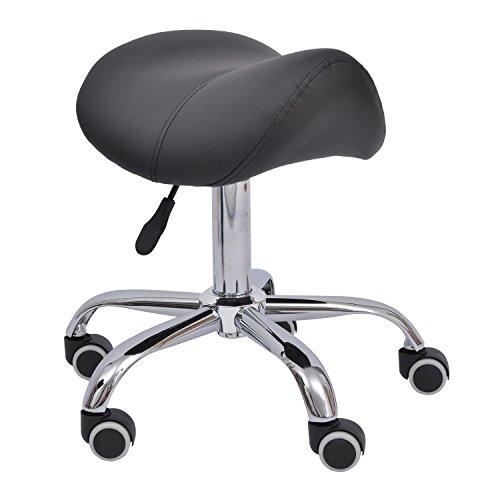 Homcom - sgabello a sella per parrucchiere e salone estetico altezza regolabile con ruote nero