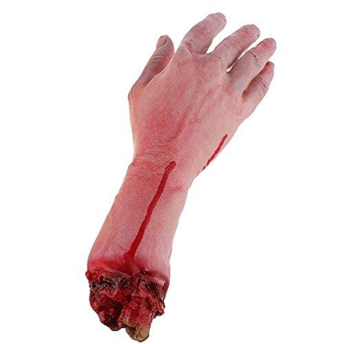 Keersi Realistische Latex Blutig Echthaar Arm Hand Life Größe Scary Körperteile für Halloween Party Indoor Outdoor Prop und Cosplay Dekoration
