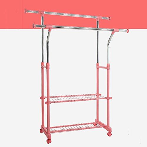 XRXY Doppelstock-Standgarderobe / praktischer zusammenklappbarer Kleiderständer / justierbare Innenbalkon-Aufhänger / große Kapazitäts-Kleidungs-Lagerregal (3 vorhandene Farben) ( Farbe : Pink , größe : A )