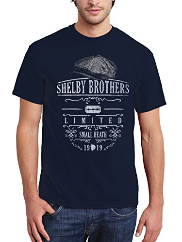 clothinx Herren T-Shirt Peaky Blinders Shelby Brothers Navy Gr. XXL