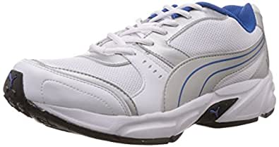 Puma Men's White,Puma Silver and Snorkel Blue Mesh Running Shoes - 11 UK /India(46EU) (18837703)