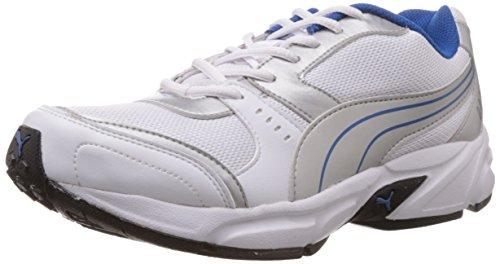 Puma Men's White,Puma Silver and Snorkel Blue Mesh Running Shoes - 6 UK/India (39 EU) (18837703)