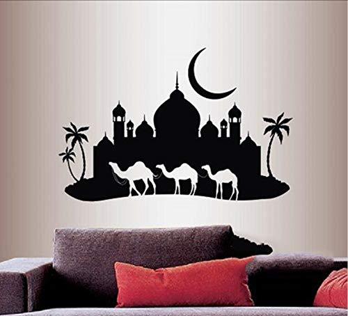 Ponana Vinyl Aufkleber Arabian Night Camel Caravan Moschee Palace Skyline Wandaufkleber Küche Dekoration 60X40 Cm A