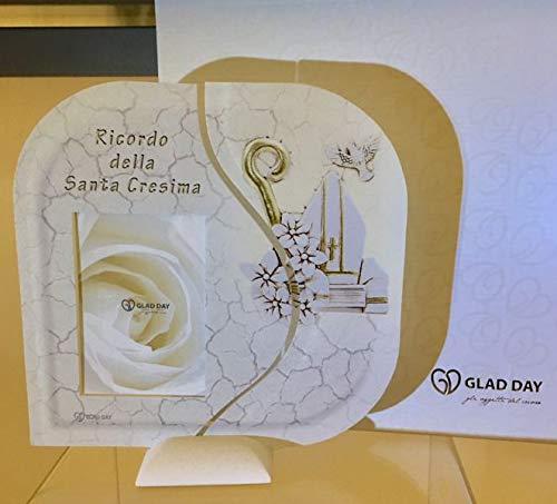 Cornice portafoto vetro ricordo santa cresima 18x18 cm made in italy in