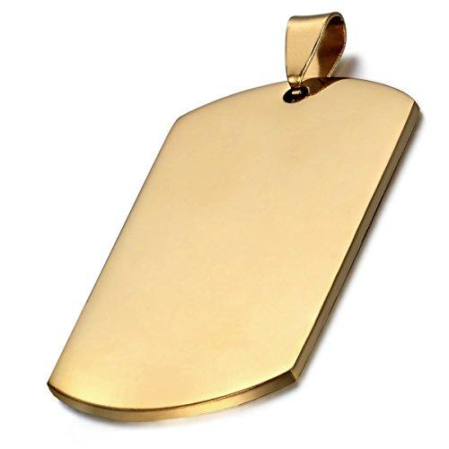 Flongo Collier Pendentif Homme Plaque Dog Tag Armée Style Militaire Acier  Inoxydable Poli Fantaisie Bijoux Cadeau 48d091e5534a