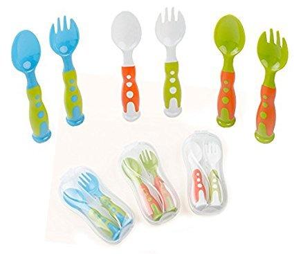 Smartlly Baby forchetta e cucchiaio set utensili per neonato con bonus viaggio valigetta di sicurezza da viaggio, da allenamento perfetto, cucchiaio e forchetta, senza BPA, Great Baby Gifts set (multi colore 3set)