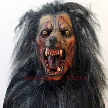 Einfach Weiblichen Kostüm Niedlich - Wolf Maske Werwolf Maske Cosplay Tierkopf Halloween Kostüm Zombi Maske Horror Werwolf gruselig (Color : A)