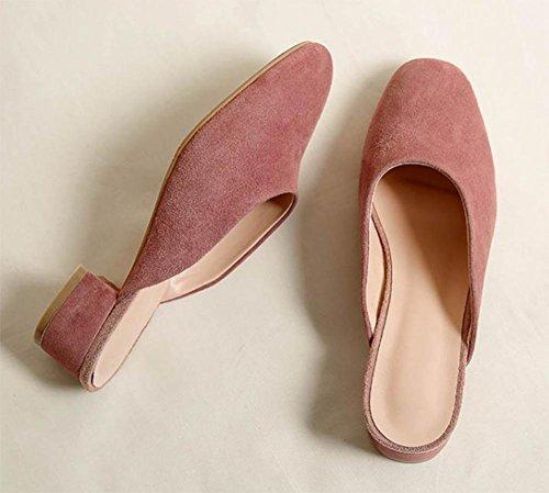Baotou Auflieger Sommerschuhe mit runden Kopf dick mit den weiblichen Sandalen und Pantoffeln Pink