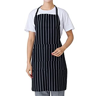 dragonaur Man Women Striped Plaid Catering Chef Waiter Bar Long Waist Apron with Pocket size Medium (Black Stripe)