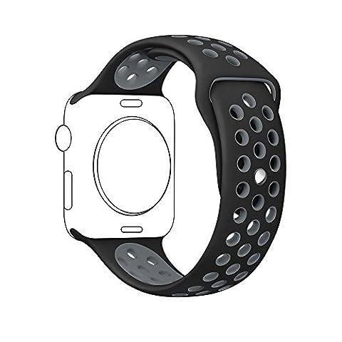 Ontube für Apple Watch Armband Nike + Serie 1/2, (Nicht Fit iWatch 38mm) Weiche Silikon Sport Armband Ersatzband für iwatch Uhrenarmband M/L Größe 42mm Schwarz/Grau