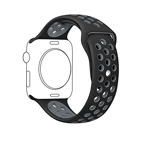 Ontube für Apple Watch Armband Nike + Serie 1/2, (Nicht Fit iWatch 38mm) Weiche Silikon Sport Armband Ersatzband für iwatch Uhrenarmband M/L Größe 42mm Schwarz/Grau