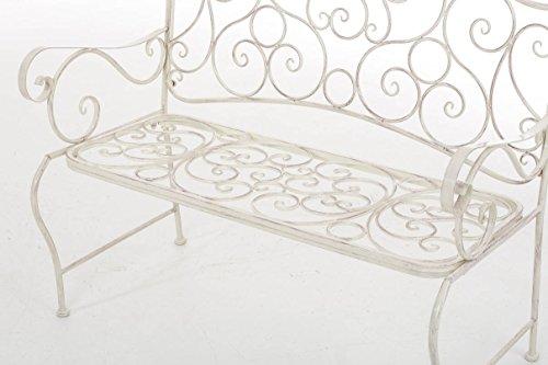 CLP Metall Gartenbank TUAN, 2-er Sitz-Bank Garten, Eisen lackiert, Design nostalgisch antik, 105 x 50 cm Antik Creme - 7