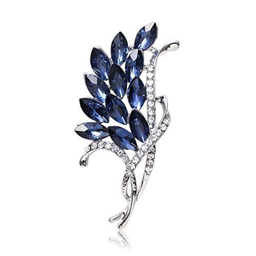 LBLFG Kristallglas Brosche Tinte blau mit Strass Brosche Roségold Weiß K Strass Brosche