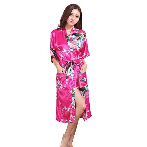 Honeystore Damen lange Kimonos für Damen Bademantel aus Satin mit Pfau und Blüten Morgenmantel Robe Schlafanzug Fuchsie XXL (Günstige Yukata Kostüm)