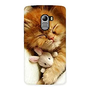 Enticing Sleeping Cat with Bunny Multicolor Back Case Cover for Lenovo K4 Note