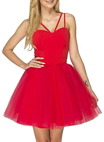 ECOWISH Damen Kleider Prinzessin Tüll Partykleid Spaghettiträger Cocktailkleid Festlich Brautjungfernkleid Mini Ballkleid Rot ()