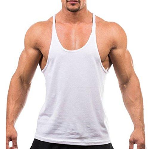 Fletion Herren Sommer Bodybuilding Tank Top Sport-Fitness-Shirts Sport Weste Training Vest Baumwolle Männer Weste Weiß
