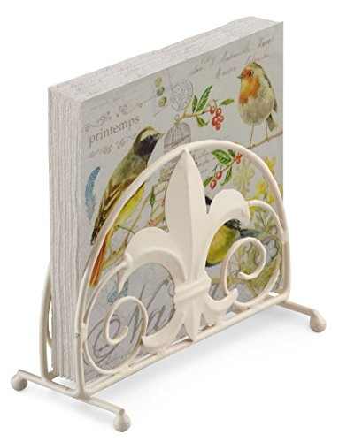 Bunte Vögel gelb creme 20x Papier-Servietten, 3-lagig & Fleur De Lys Serviettenhalter Set