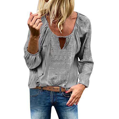 LOPILY Stickereie Bluse Damen Elegante Quasten Oberteile mit Kordelzug Hippie Tunika O-Neck Sexy Spitzen Tops für Hochzeitsgast Laternenärmel Oberteile Damen Langarm Bluse Herbst (Grau, 40)