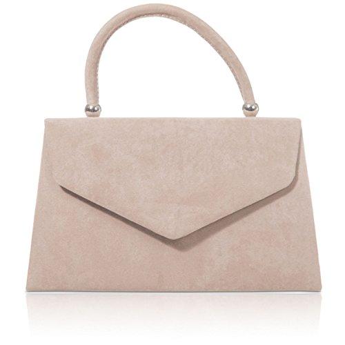 xardi London New Handheld Handtaschen Damen Mädchen Faux Wildleder Leder Damen Clutch Taschen, beige - nude - Größe: M