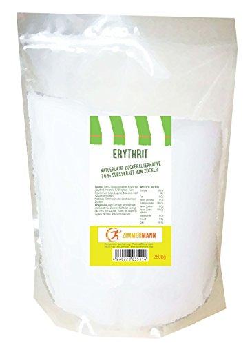 Erythrit/Erythritol natürliche Zuckeralternative 2500g/von Zimmermann Sportnahrung (Fett Lösliche Ballaststoffe)