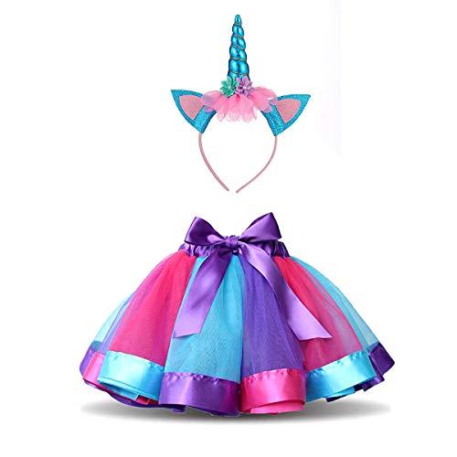 DIXIUZA Mädchen Kinder TüTü Röcke Kostüm mit Einhorn Haarreif für Tanz Party - Kind Tanz Kostüm