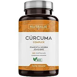 Cúrcuma orgánica(650mg) con Jengibre(50mg) y Pimienta Negra(10mg) | 120 cápsulas vegetales | Máxima calidad | Potente antiinflamatorio y antioxidante natural | Cúrcuma complex | Nutralie