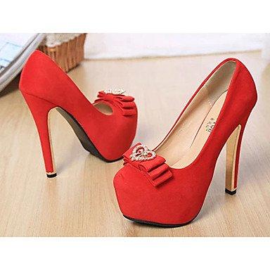 Moda Donna Sandali Sexy donna tacchi tacchi Estate Felpa casual Stiletto Heel Bowknot nero / rosso altri Red