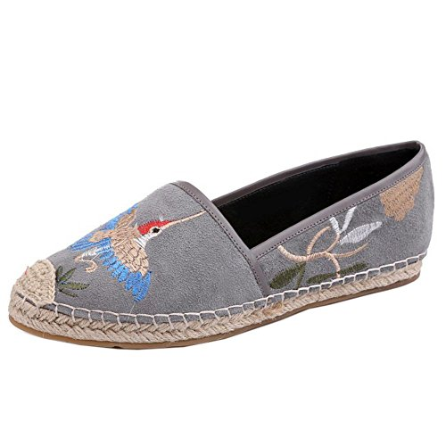 COOLCEPT Femmes Traditional Decontractee China Embroidered Ballerines Appartements Gris